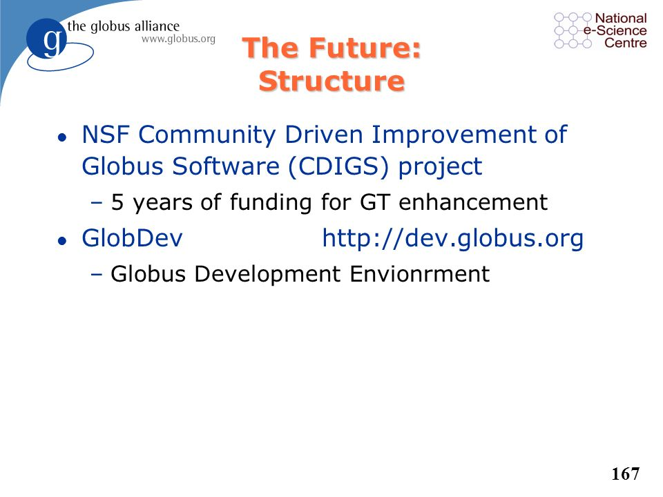 The Future: Structure NSF Community Driven Improvement of Globus Software (CDIGS) project. 5 years of funding for GT enhancement.