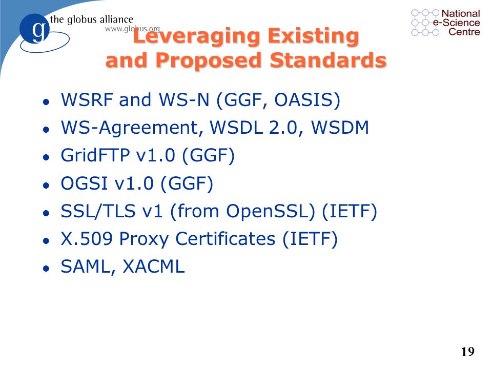 Leveraging Existing and Proposed Standards