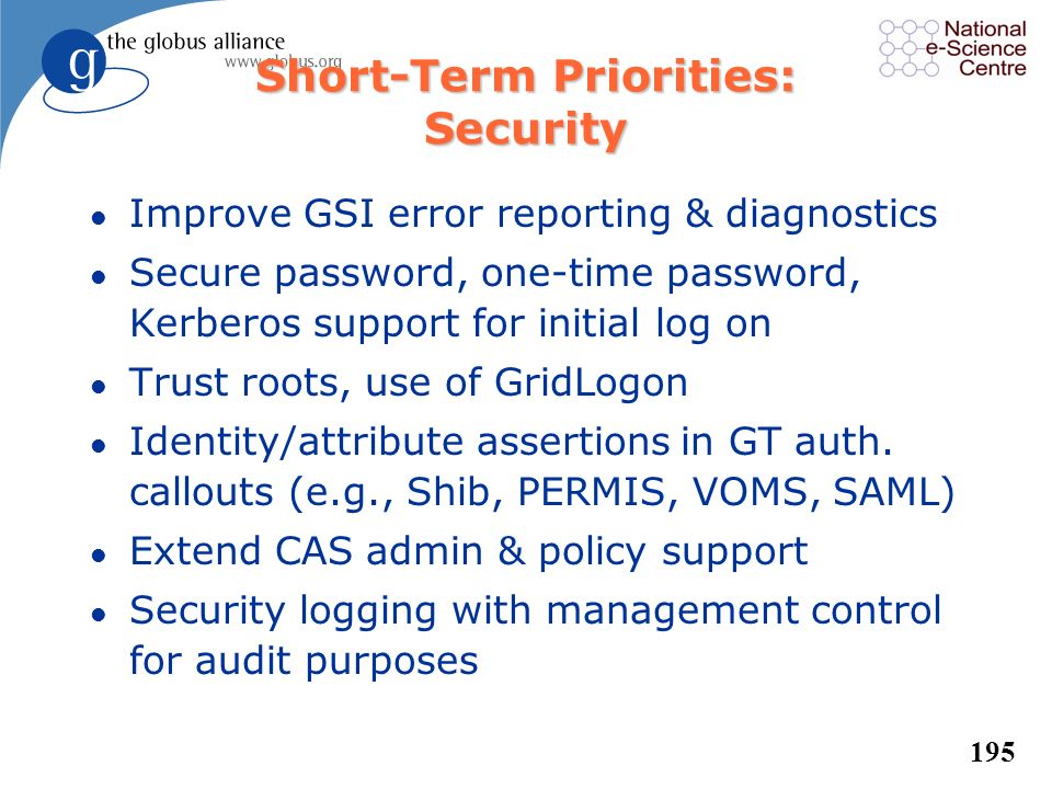 Short-Term Priorities: Security