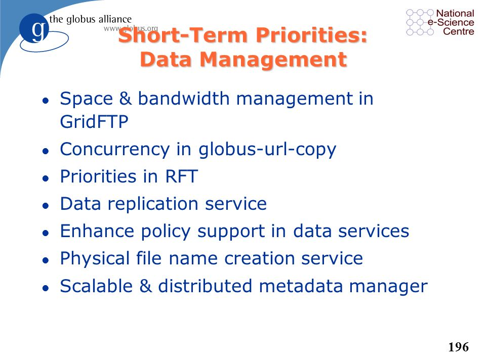 Short-Term Priorities: Data Management