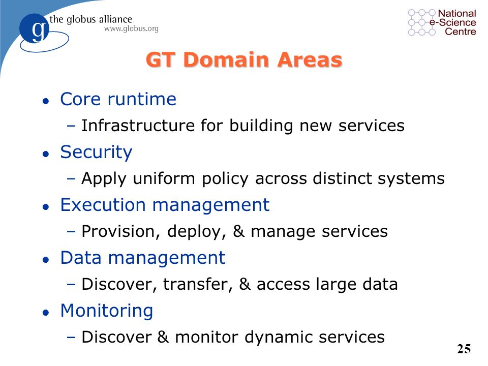 GT Domain Areas Core runtime Security Execution management