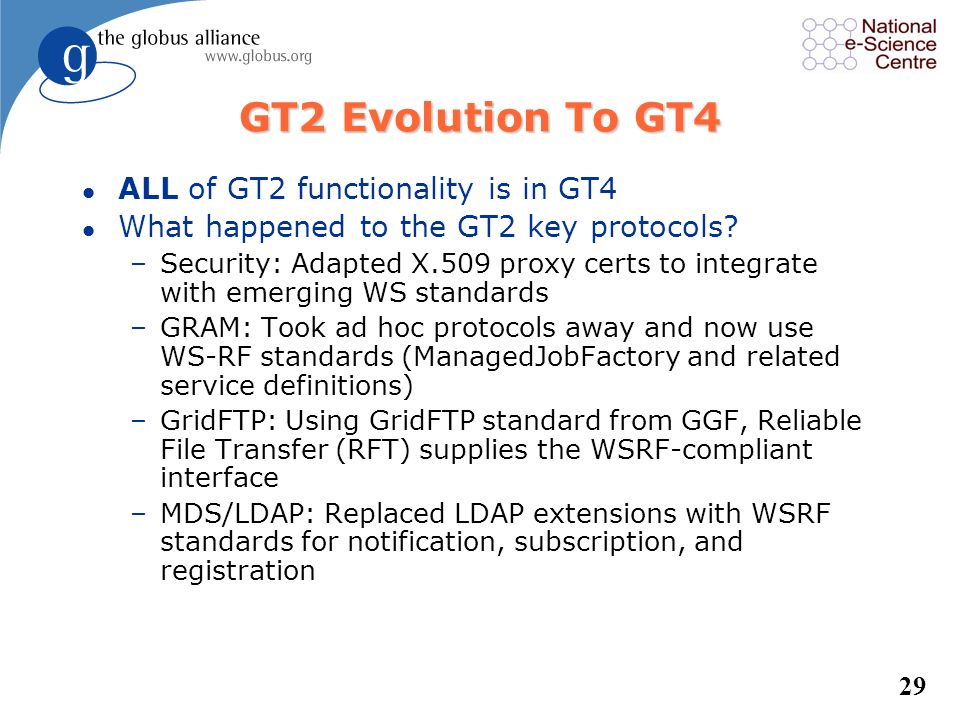 GT2 Evolution To GT4 ALL of GT2 functionality is in GT4