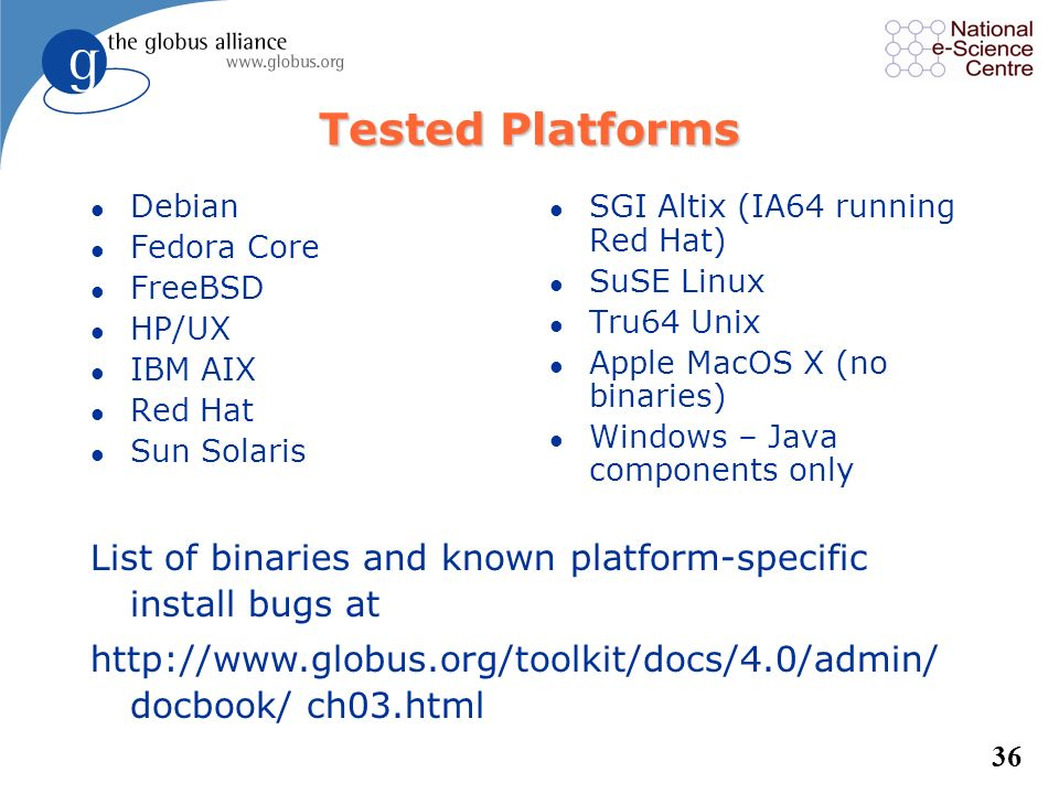 Tested Platforms Debian. Fedora Core. FreeBSD. HP/UX. IBM AIX. Red Hat. Sun Solaris. SGI Altix (IA64 running Red Hat)