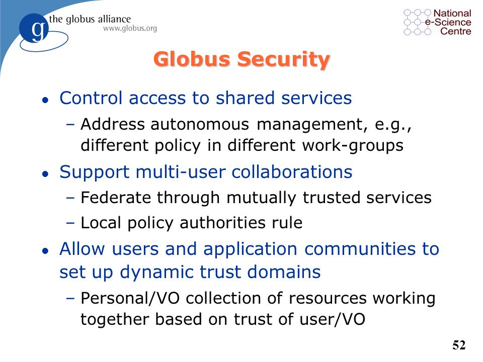 Globus Security Control access to shared services