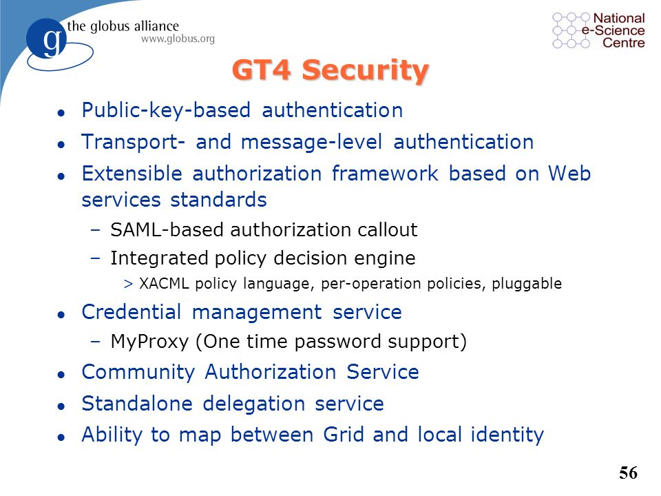 GT4 Security Public-key-based authentication