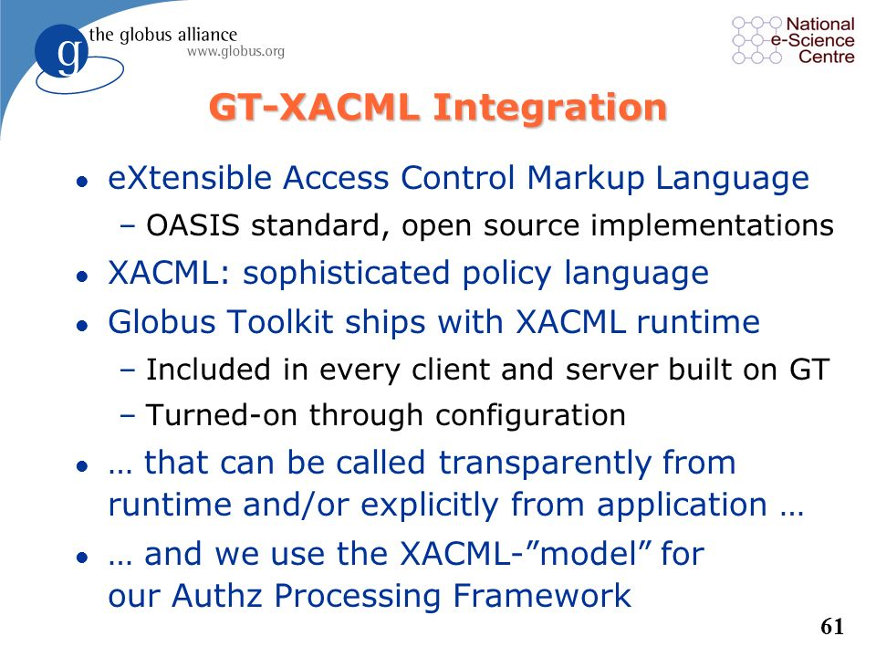 GT-XACML Integration eXtensible Access Control Markup Language
