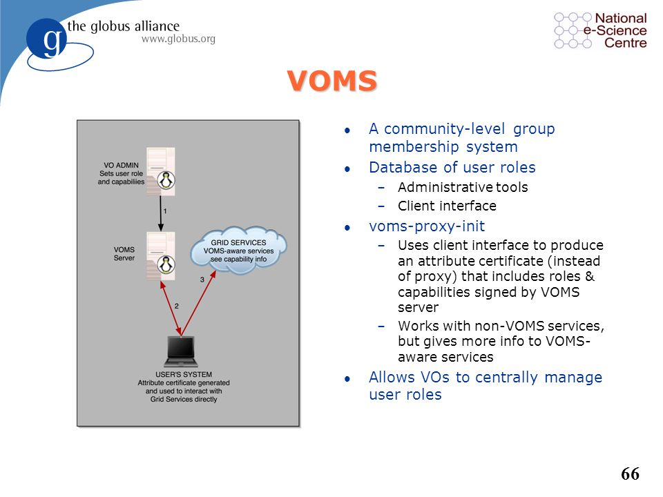 VOMS A community-level group membership system Database of user roles