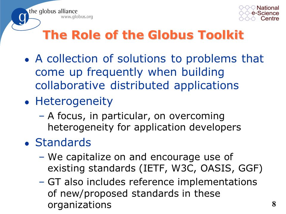 The Role of the Globus Toolkit