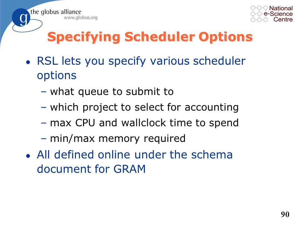 Specifying Scheduler Options