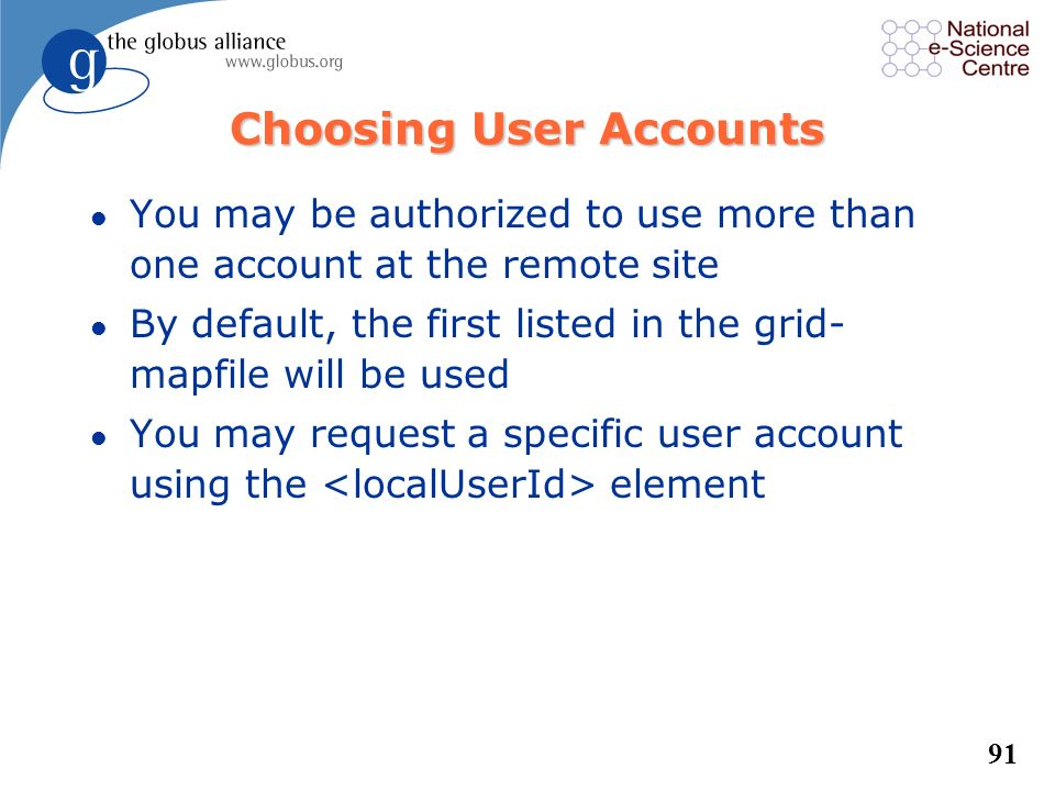 Choosing User Accounts