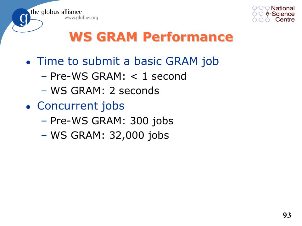 WS GRAM Performance Time to submit a basic GRAM job Concurrent jobs