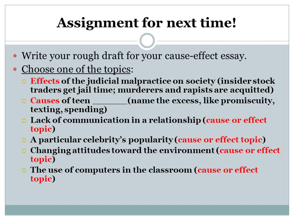cause and effect essay on technology Cause and effect essay topics about animals and the environment our environment is the most critical factor that ensures our day to day survival the following cause and effect essay topics about animals and the environment should show you why it's important to conserve the environment.