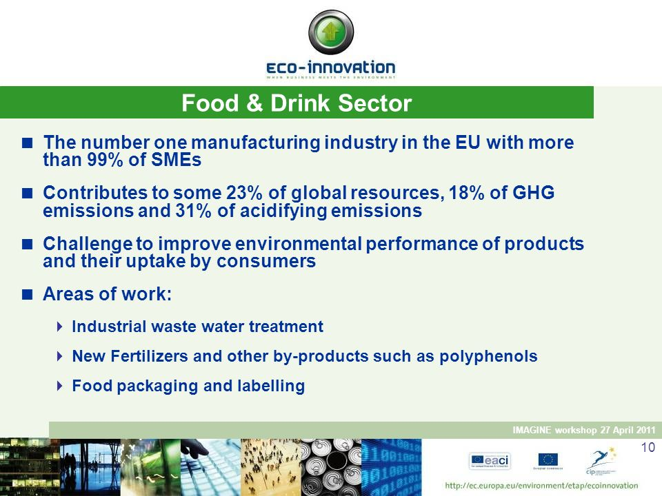 Food & Drink Sector The number one manufacturing industry in the EU with more than 99% of SMEs.