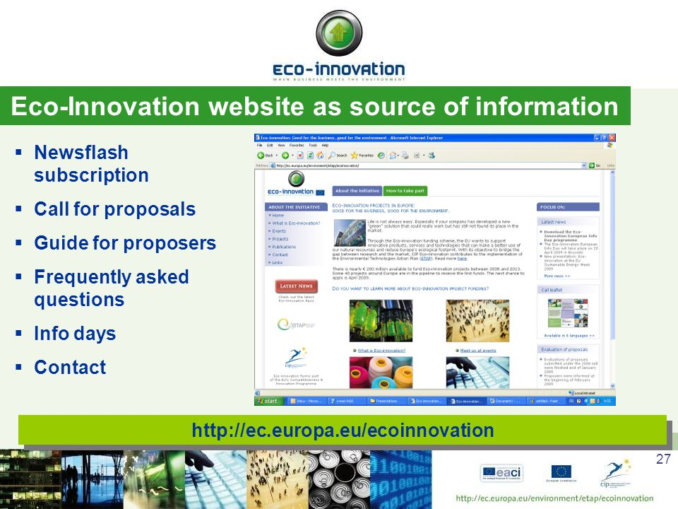 Eco-Innovation website as source of information