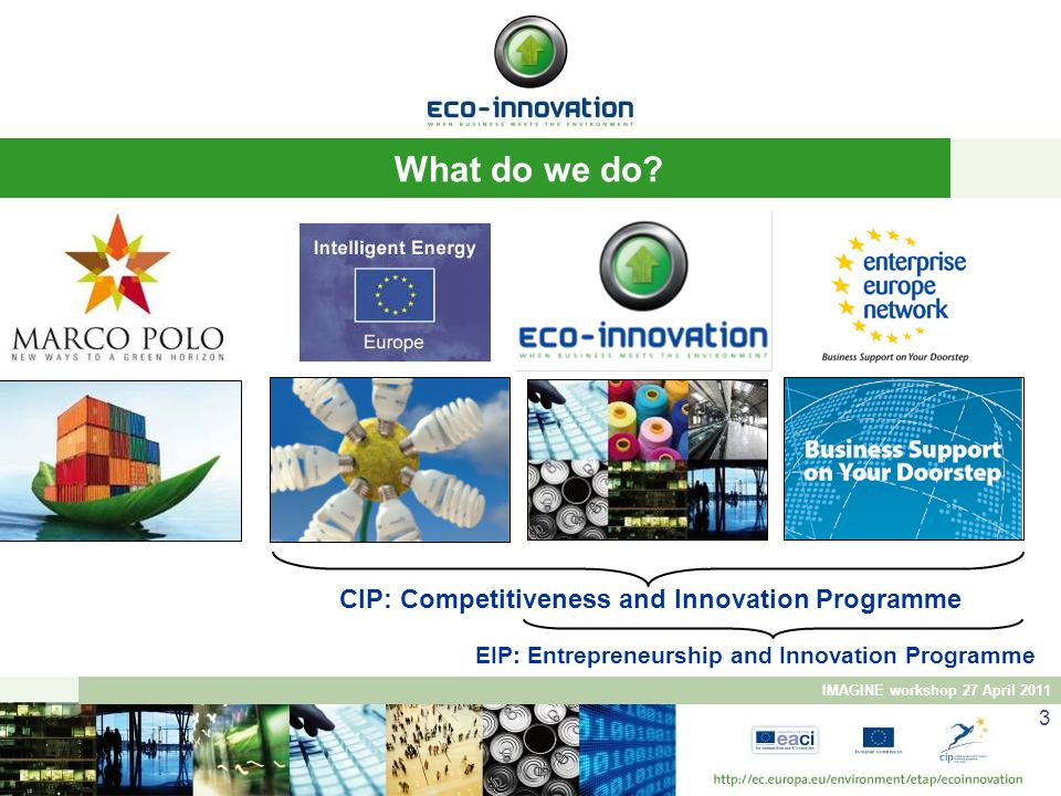 What do we do CIP: Competitiveness and Innovation Programme