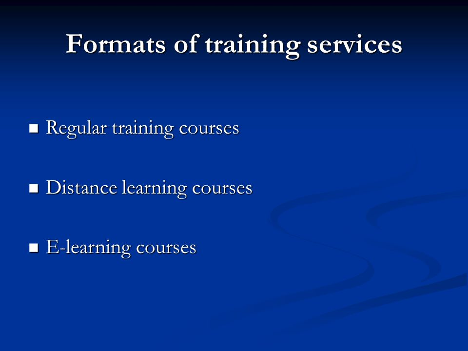 Formats of training services