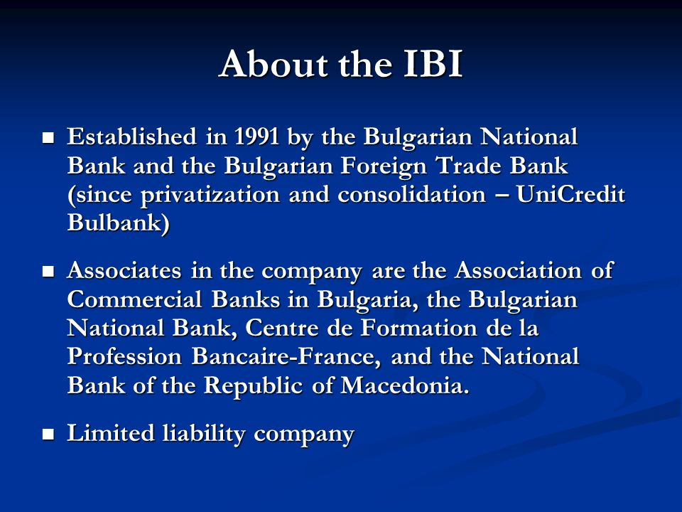 About the IBI