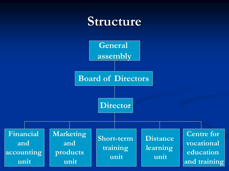 Structure General assembly Board of Directors Director Financial and