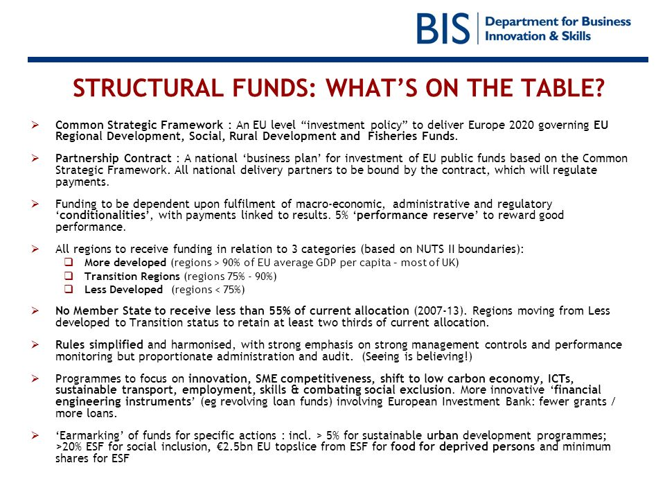 STRUCTURAL FUNDS: WHAT'S ON THE TABLE