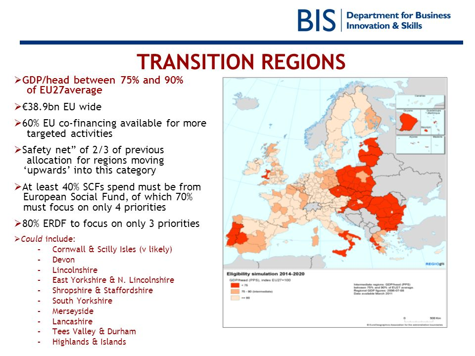 TRANSITION REGIONS GDP/head between 75% and 90% of EU27average