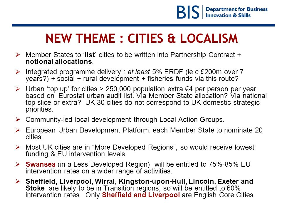 NEW THEME : CITIES & LOCALISM