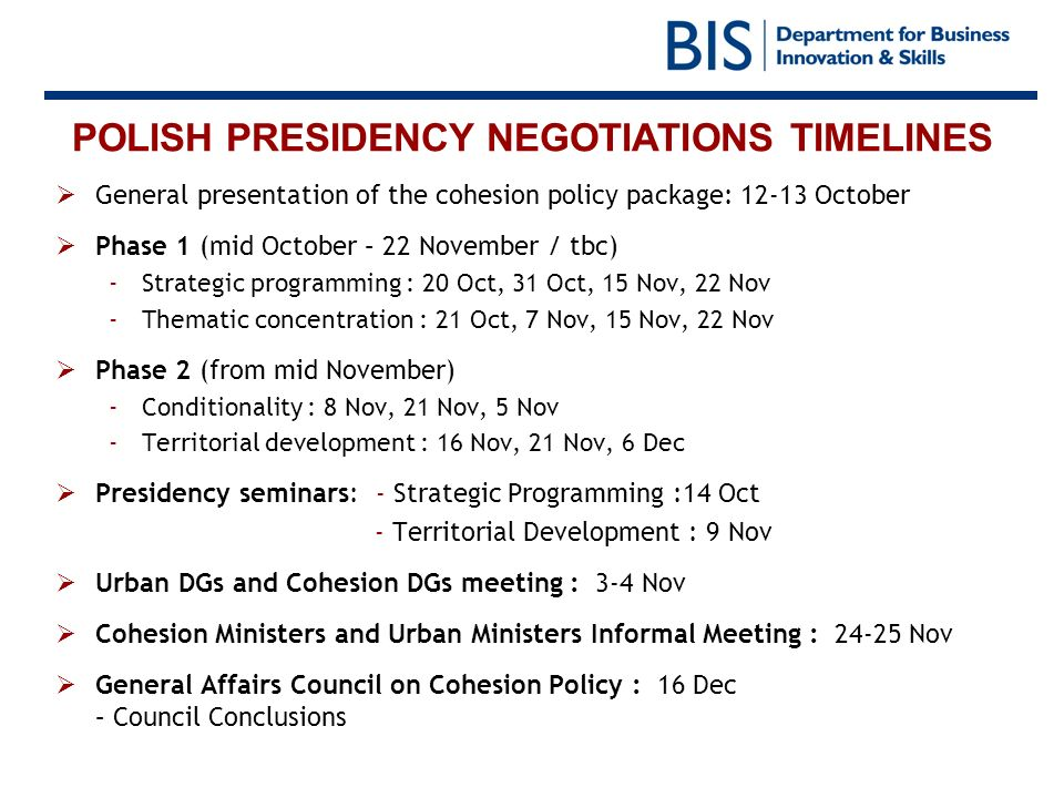 POLISH PRESIDENCY NEGOTIATIONS TIMELINES