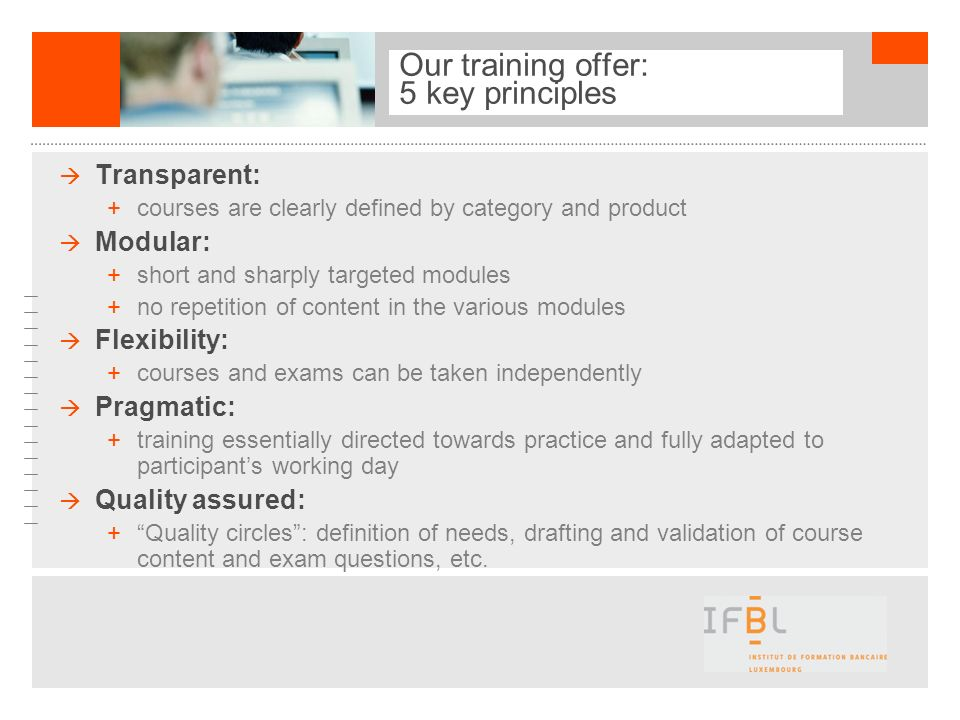 Our training offer: 5 key principles