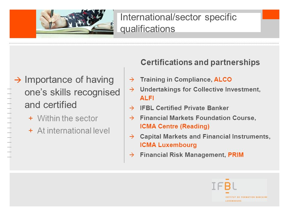 International/sector specific qualifications