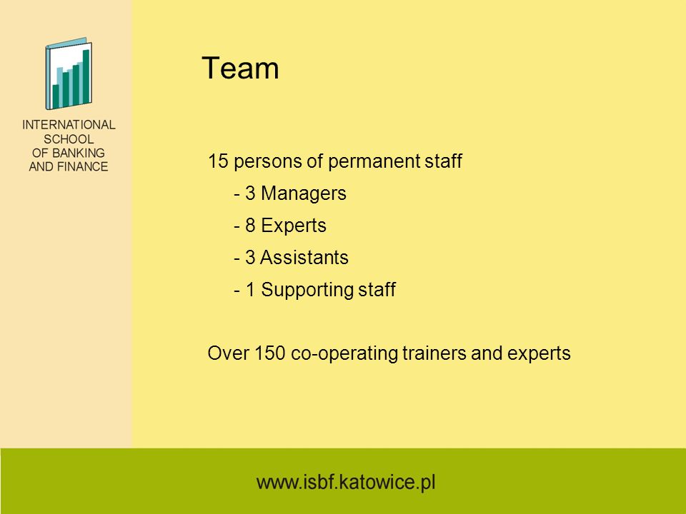 Team 15 persons of permanent staff - 3 Managers - 8 Experts