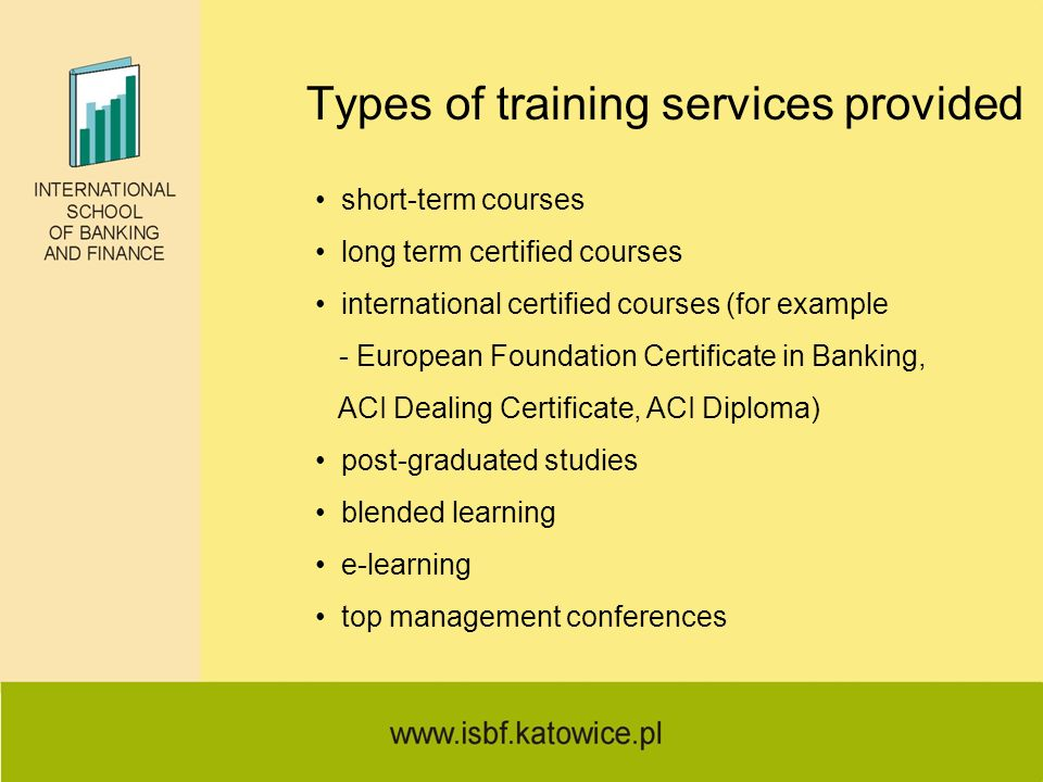 Types of training services provided