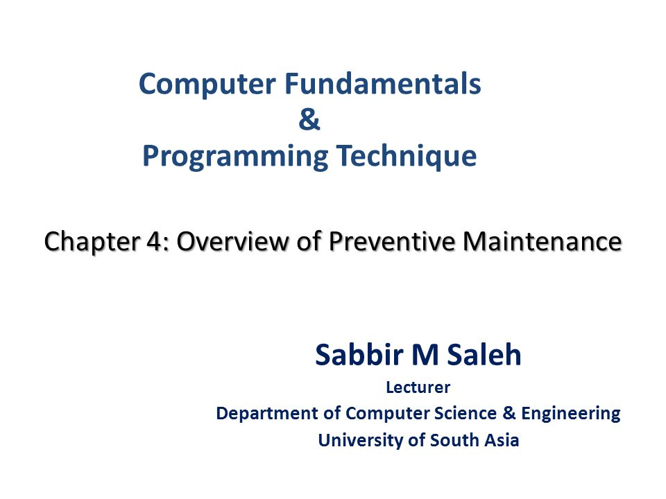 Chapter 4 Overview Of Preventive Maintenance
