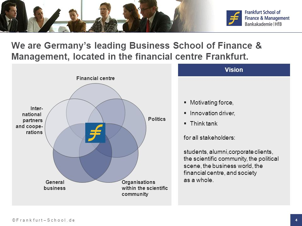 We are Germany's leading Business School of Finance & Management, located in the financial centre Frankfurt.
