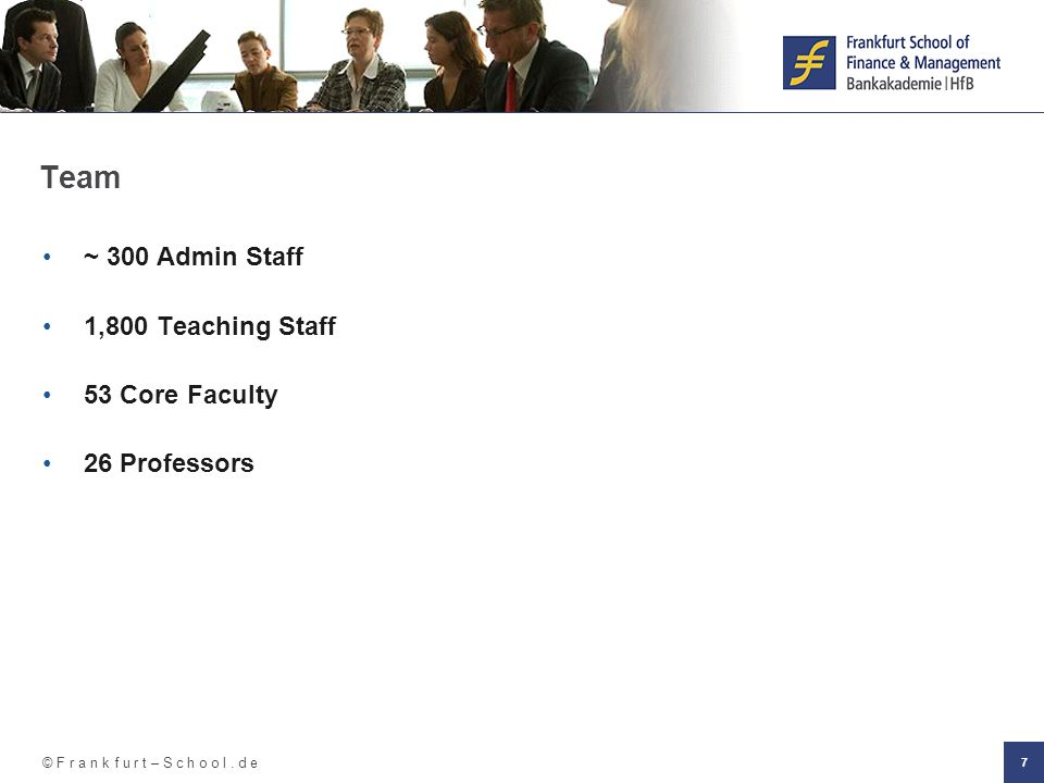 Team ~ 300 Admin Staff 1,800 Teaching Staff 53 Core Faculty