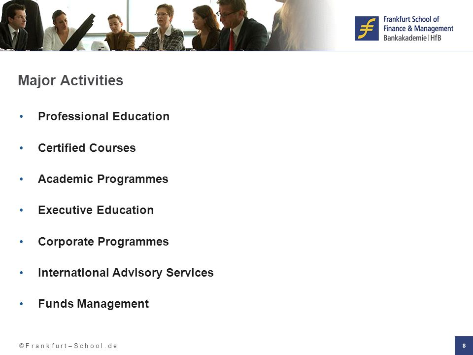 Major Activities Professional Education Certified Courses