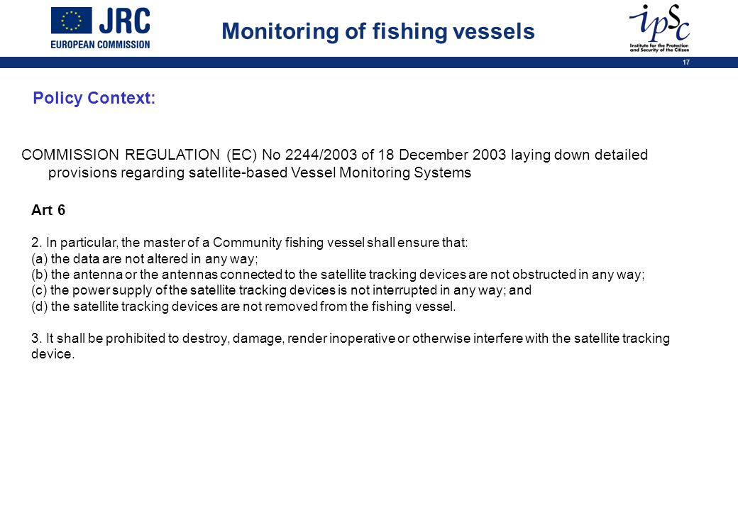 Monitoring of fishing vessels