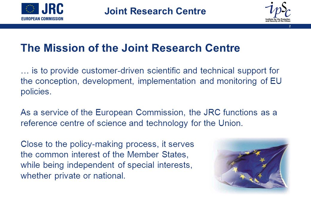 The Mission of the Joint Research Centre