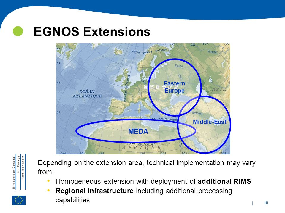 EGNOS Extensions Eastern Europe. Middle-East. MEDA. Depending on the extension area, technical implementation may vary from: