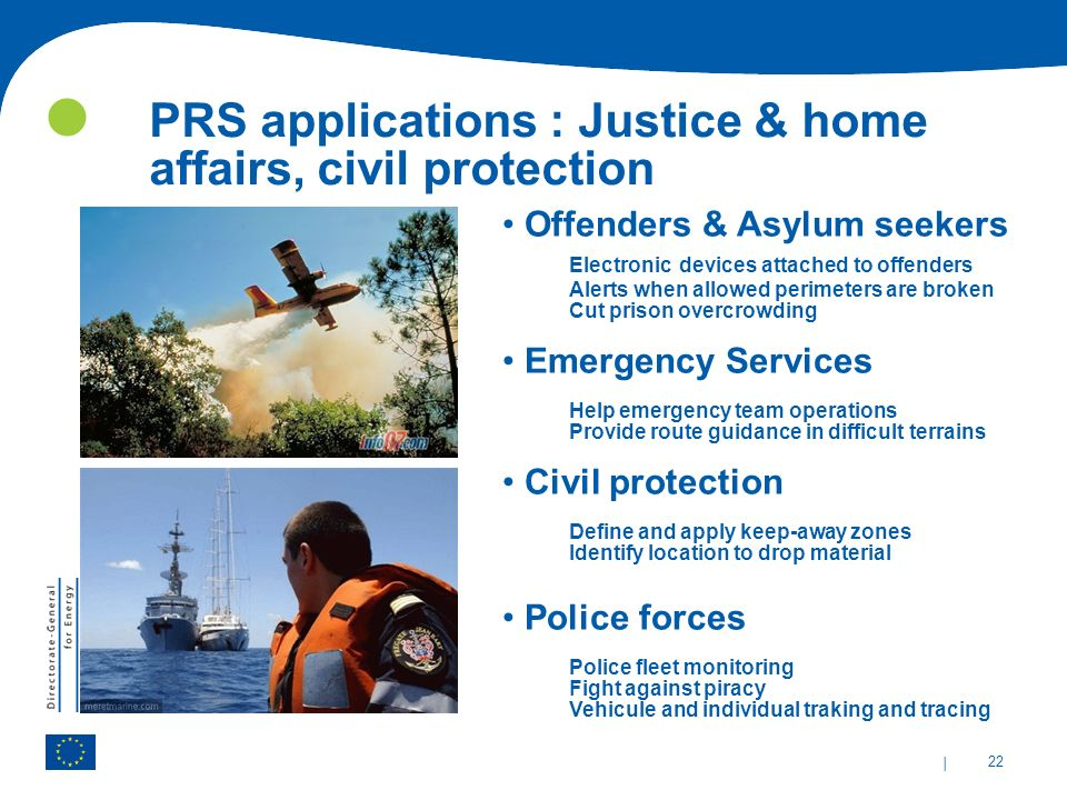 PRS applications : Justice & home affairs, civil protection