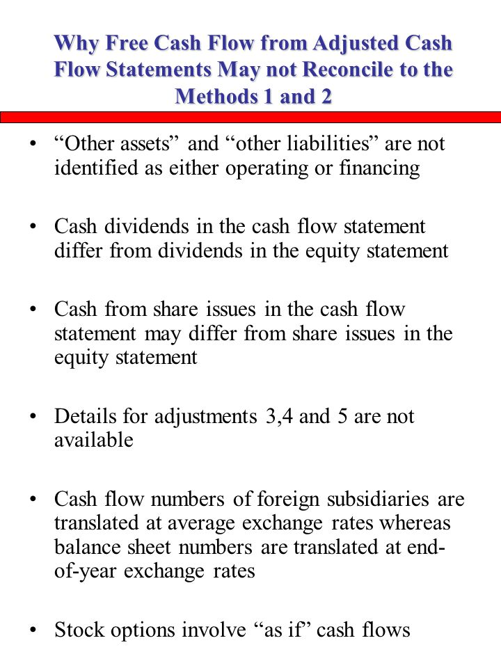 Cash Flow Statements Why Free Cash Flow From Adjusted Cash Flow
