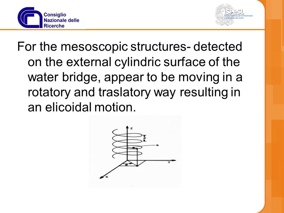 For the mesoscopic structures- detected on the external cylindric surface of the water bridge, appear to be moving in a rotatory and traslatory way resulting in an elicoidal motion.