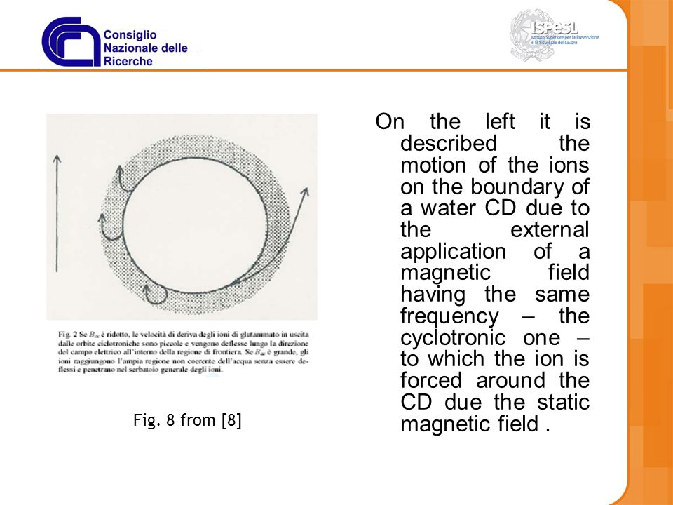 On the left it is described the motion of the ions on the boundary of a water CD due to the external application of a magnetic field having the same frequency – the cyclotronic one – to which the ion is forced around the CD due the static magnetic field .