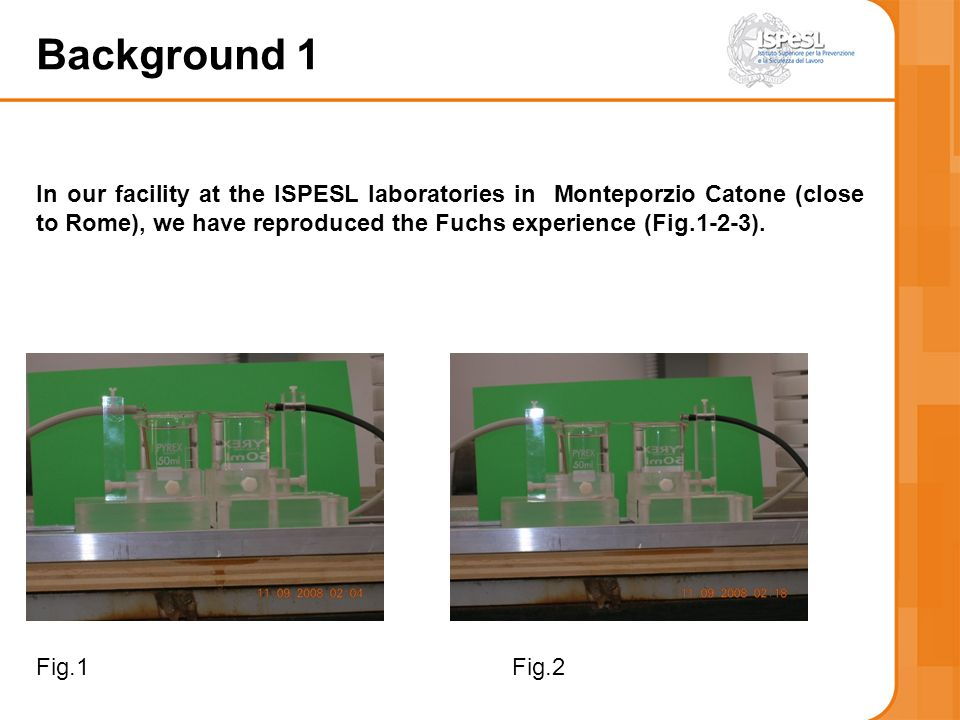 Background 1 In our facility at the ISPESL laboratories in Monteporzio Catone (close to Rome), we have reproduced the Fuchs experience (Fig.1-2-3).