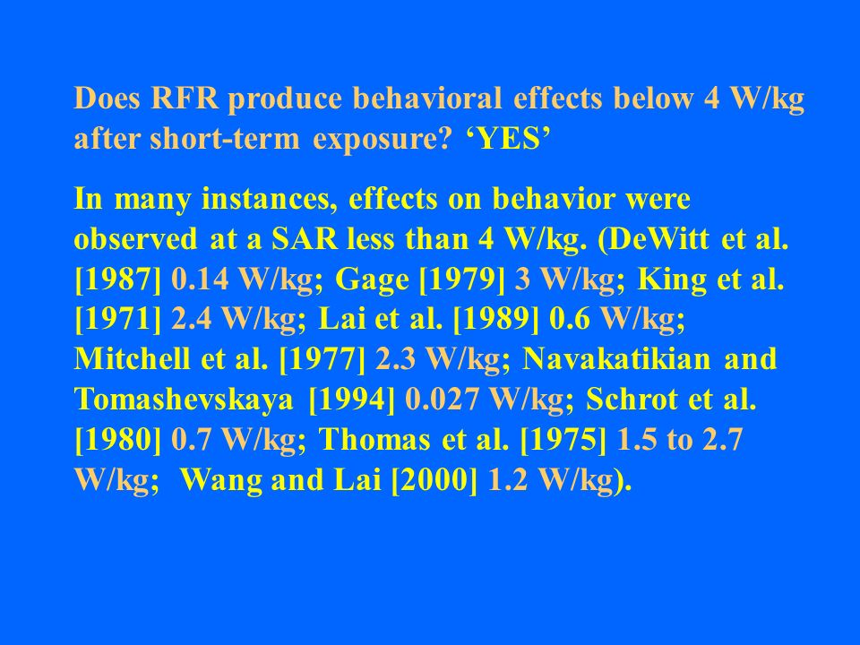 Does RFR produce behavioral effects below 4 W/kg after short-term exposure 'YES'