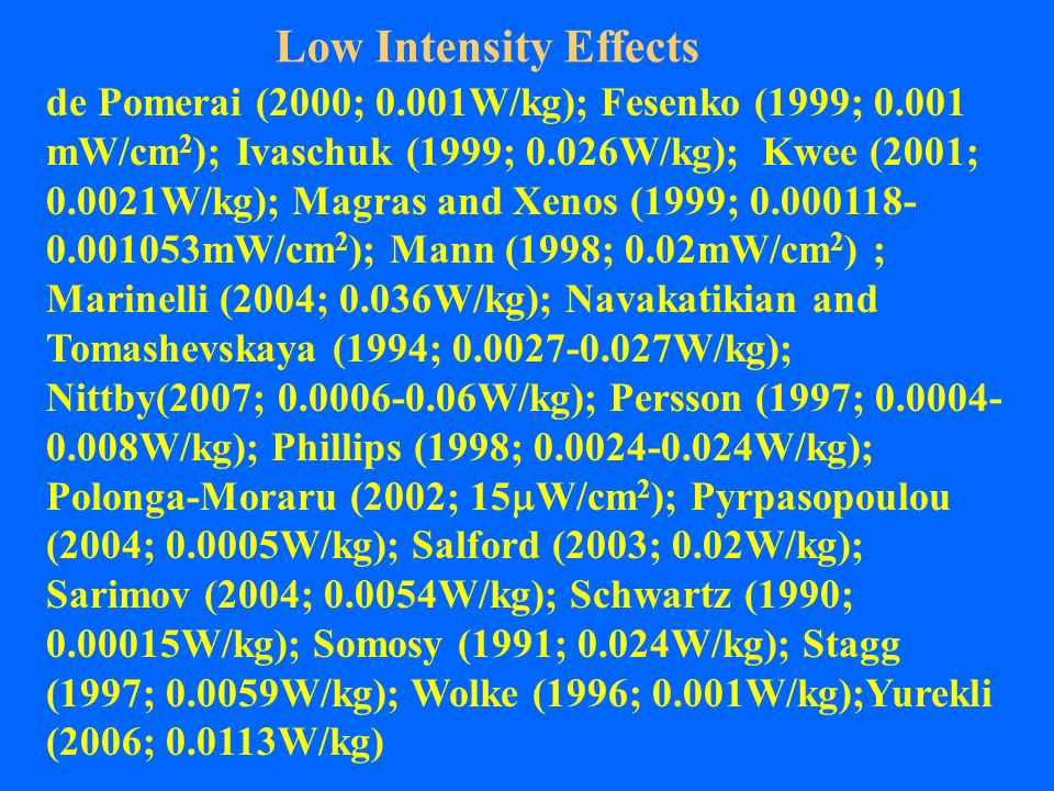 Low Intensity Effects