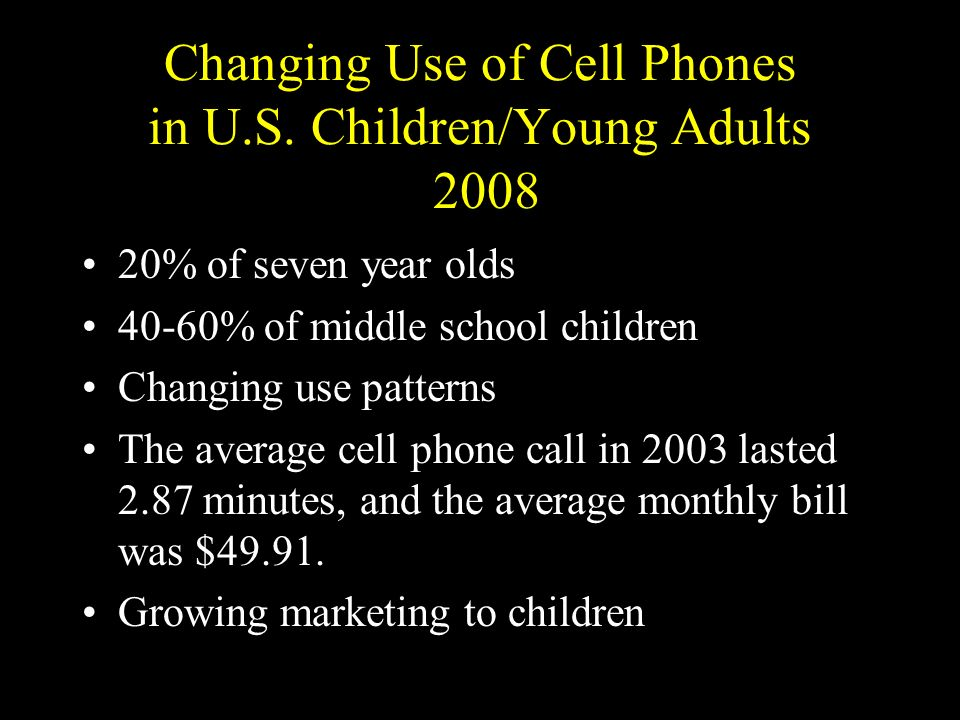 Changing Use of Cell Phones in U.S. Children/Young Adults 2008