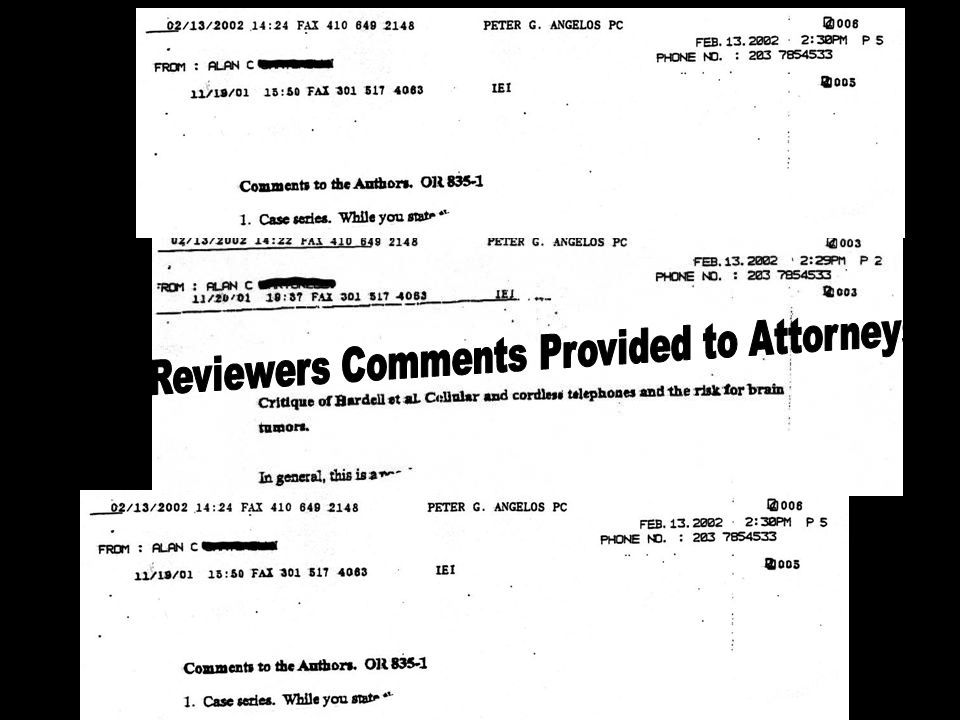 Peer Reviewers Comments Provided to Attorneys