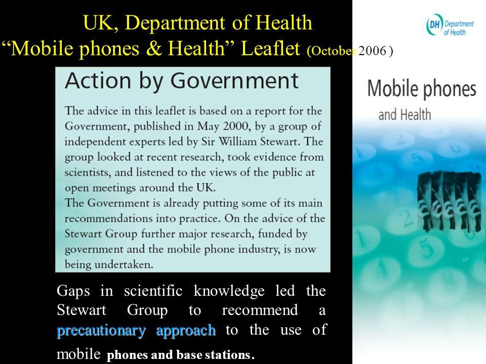 UK, Department of Health Mobile phones & Health Leaflet (October 2006 )