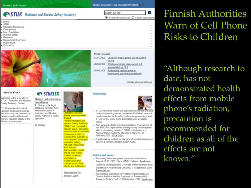 Finnish Authorities Warn of Cell Phone Risks to Children