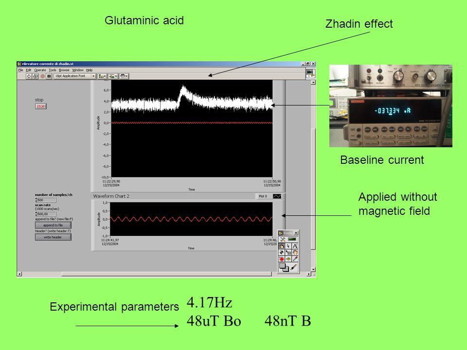 4.17Hz 48uT Bo 48nT B Glutaminic acid Zhadin effect Baseline current
