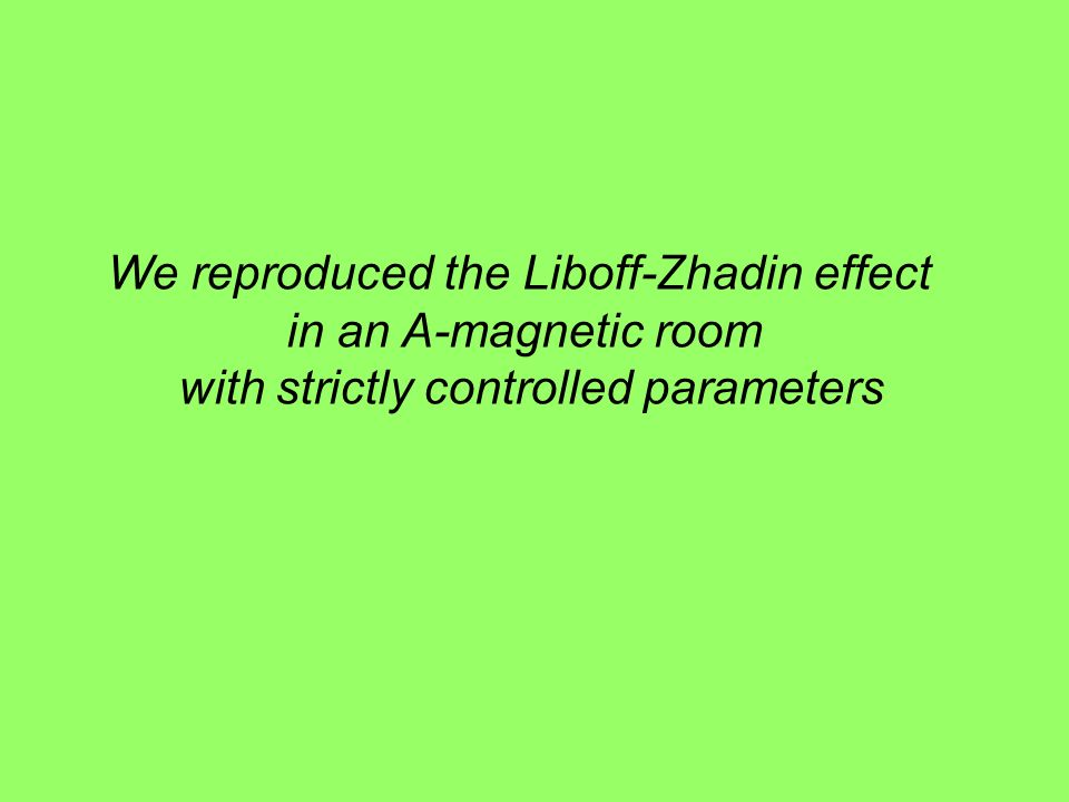 We reproduced the Liboff-Zhadin effect in an A-magnetic room